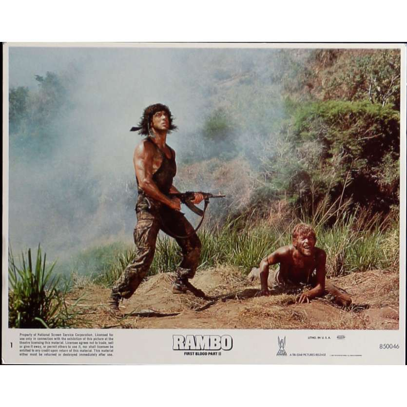 RAMBO FIRST BLOOD PART II Lobby Card N1 8x10 in. USA - 1985 - George P. Cosmatos, Sylvester Stallone