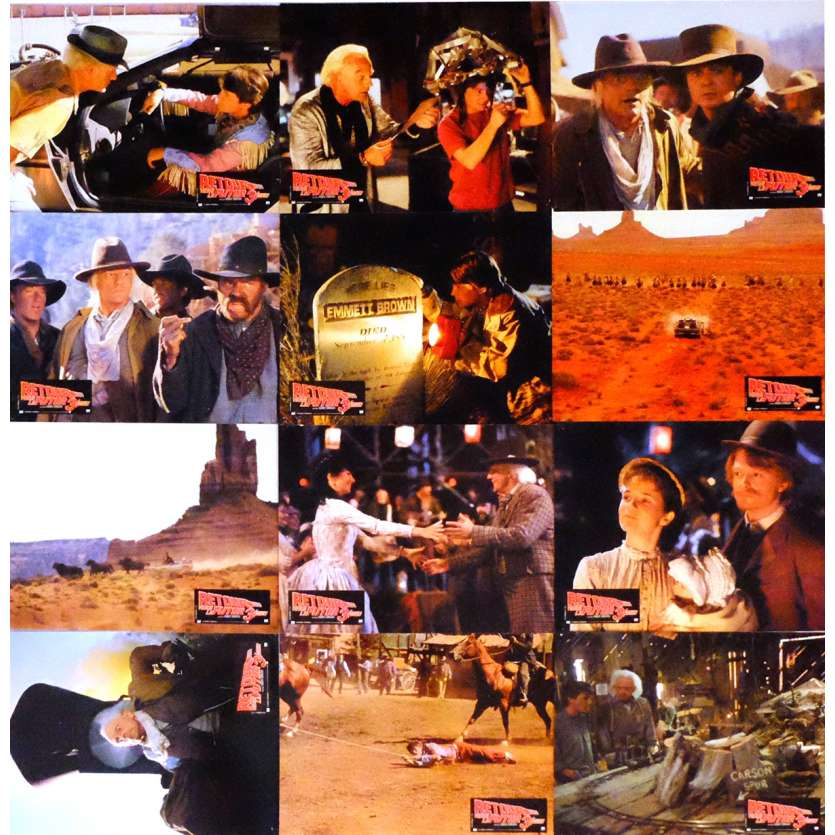 BACK TO THE FUTURE III Lobby Cards x12 9x12 in. French - 1990 - Robert Zemeckis, Michael J. Fox