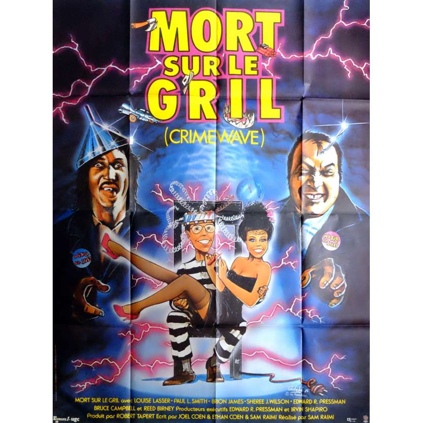 CRIMEWAVE Movie Poster 47x63 in. French - 1985 - Sam Raimi, Brion James