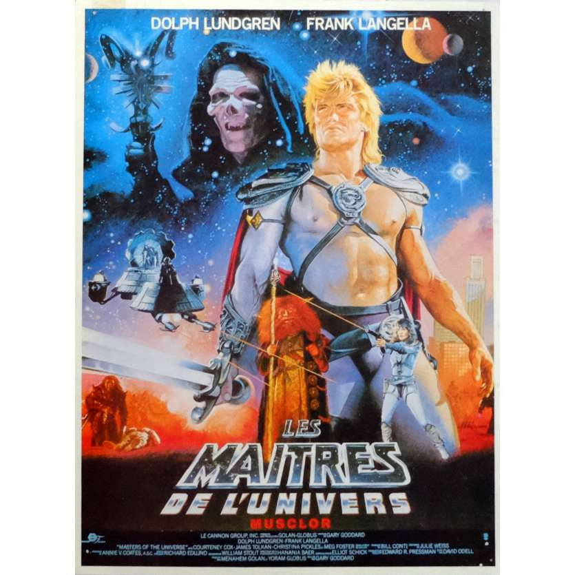 MASTERS OF THE UNIVERSE Herald 9x12 in. French - 1987 - Gary Goddard, Dolph Lundgren