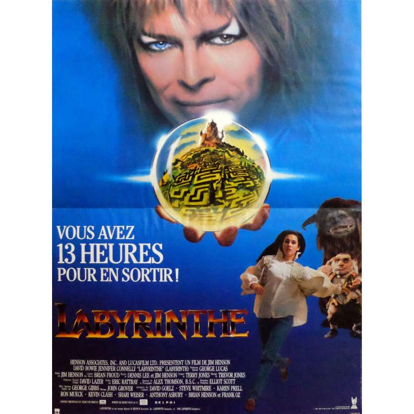 LABYRINTH Movie Poster 15x21 in. French - 1986 - Jim Henson, David Bowie