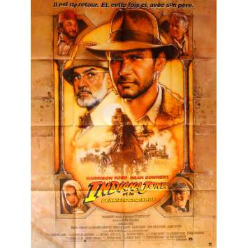 INDIANA JONES AND THE LAST CRUSADE Movie Poster 47x63 in. French - 1989 - Steven Spielberg, Harrison Ford