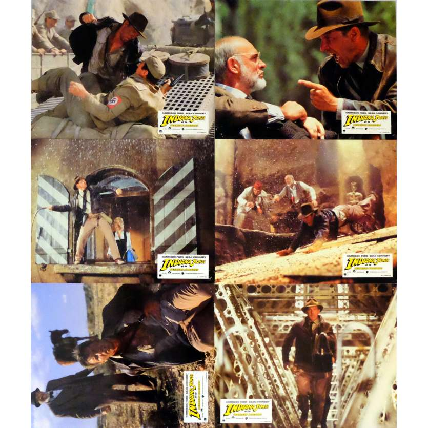 INDIANA JONES AND THE LAST CRUSADE Lobby Cards Set A - x6 9x12 in. French - 1989 - Steven Spielberg, Harrison Ford