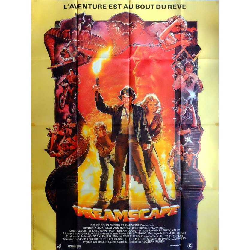 DREAMSCAPE Movie Poster 47x63 in. French - 1984 - Joseph Ruben, Dennis Quaid