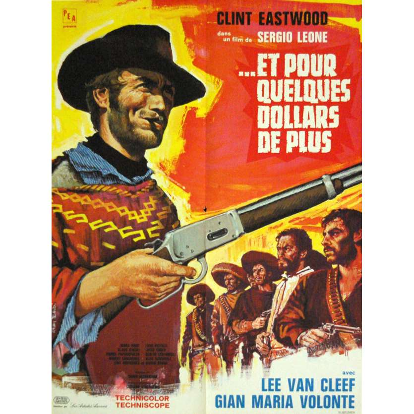 FOR A FEW DOLLARS MORE French Movie Poster 23x31 1965, Clint Eastwood western spaghetti