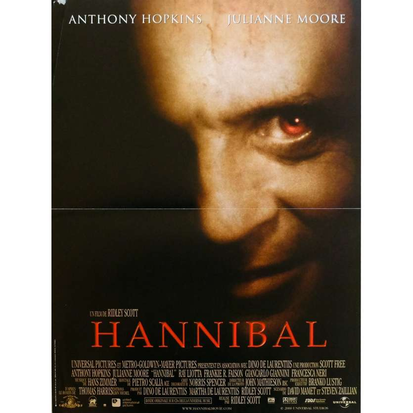 HANNIBAL Affiche de film 40x60 cm - 2001 - Anthony Hopkins, Ridley Scott
