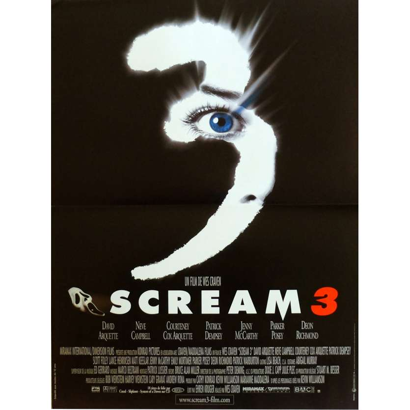 SCREAM 3 Movie Poster 15x21 in. French - 2000 - Wes Craven, Neve Campbell