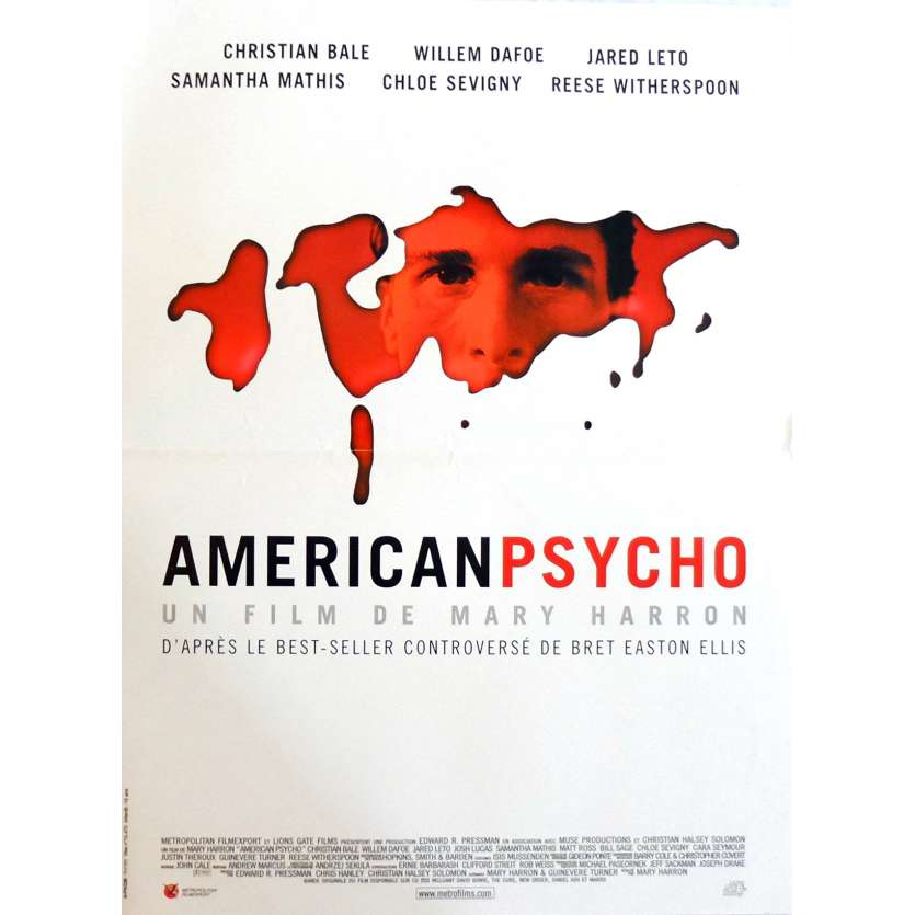 AMERICAN PSYCHO Movie Poster 15x21 in. French - 2000 - Marry Harron, Christian Bale