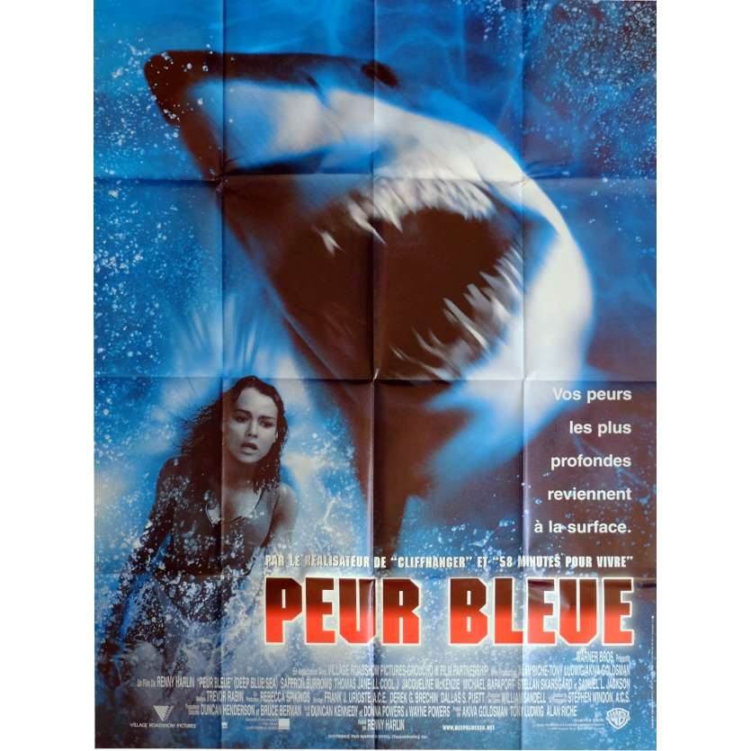 DEEP BLUE SEA Movie Poster 47x63 in. French - 1999 - Renny Harlin, Thomas Jane