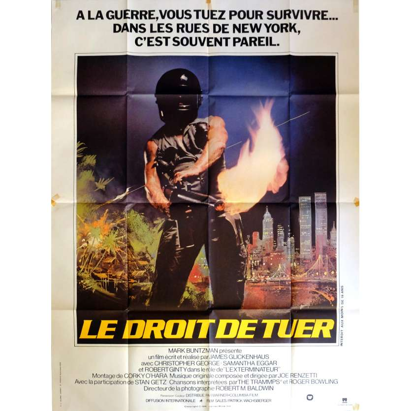 THE EXTERMINATOR Movie Poster 47x63 in. French - 1980 - James Glickenhaus, Robert Ginty