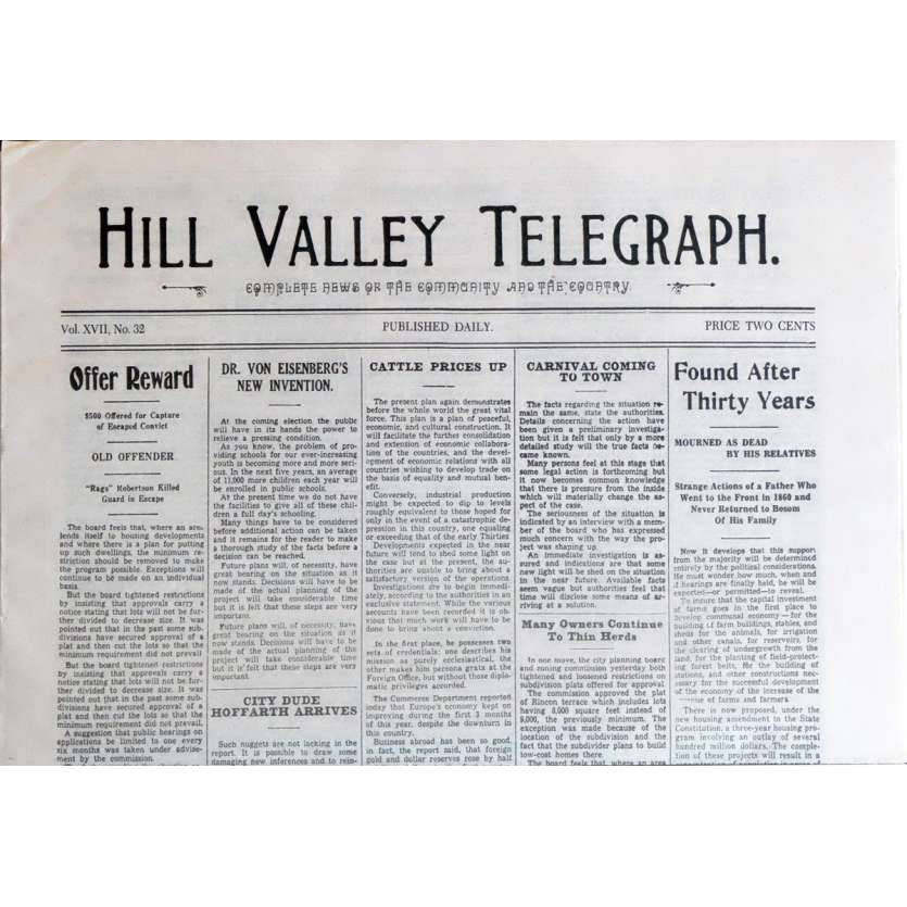 BACK TO THE FUTURE III Newspaper Prop - Hill Valley Telegraph
