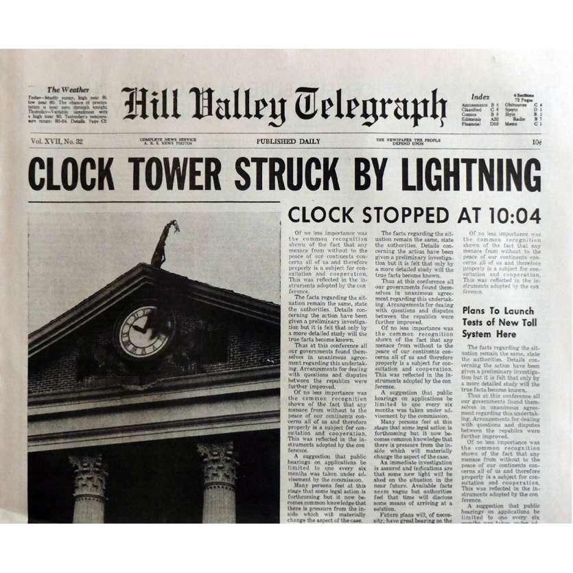 RETOUR VERS LE FUTUR Réplique du journal Clock Tower 40x60 cm - 1985 - Michael J. Fox, Robert Zemeckis