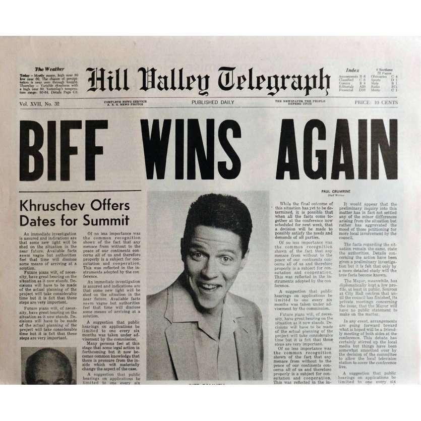 BACK TO THE FUTURE II Newspaper Prop Replica Biff Wins Again 15x21 in. USA - 1989 - Robert Zemeckis, Michael J. Fox