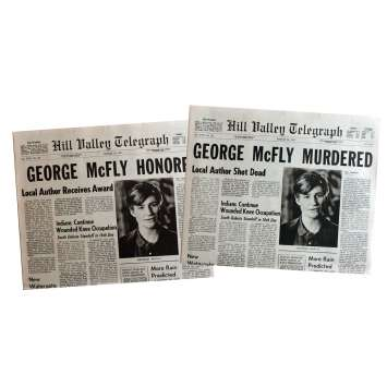 BACK TO THE FUTURE Newspapers Prop Replicas George McFly 15x21 in. USA - 1985 - Robert Zemeckis, Michael J. Fox
