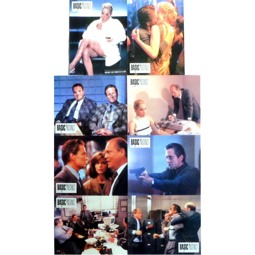 BASIC INSTINCT Lobby Cards x8 9x12 in. French - 1992 - Paul Verhoeven, Sharon Stone