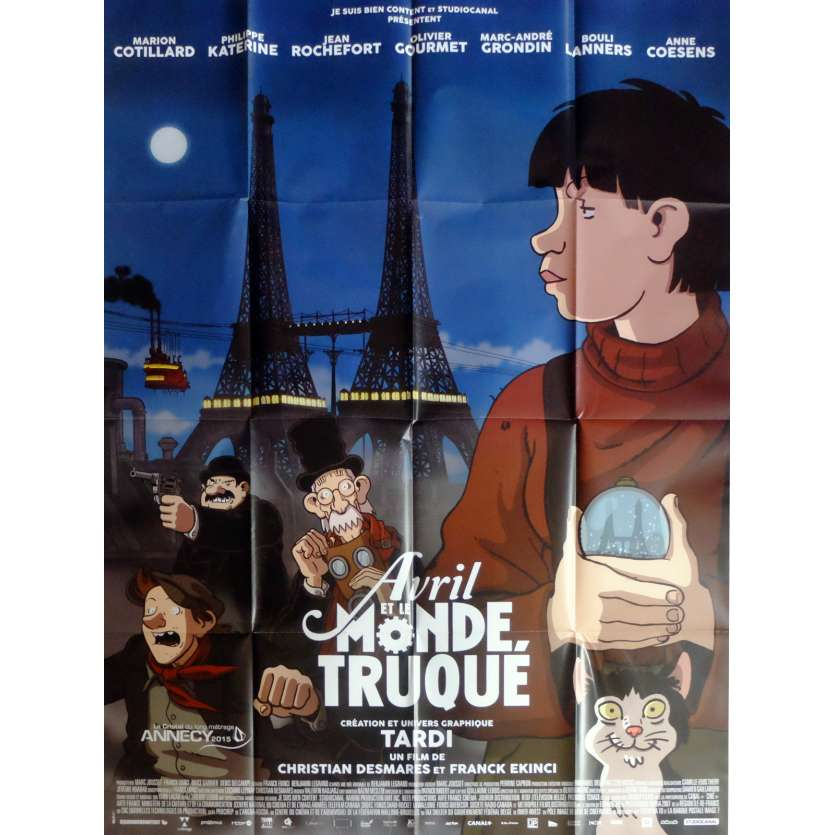 AVRIL ET LE MONDE TRUQUÉ Movie Poster def. 47x63 in. French - 2015 - Jacques Tardi, Marion Cotillard