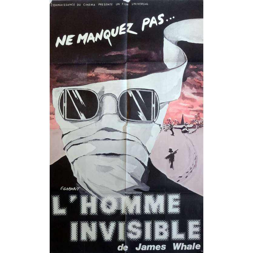 THE INVISIBLE MAN Movie Poster 32x47 in. French - 1933 - James Whale, Claude Rains