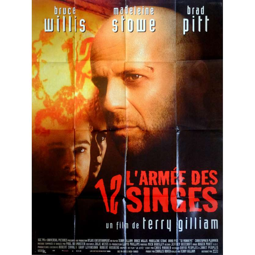 12 MONKEYS Movie Poster 47x63 in. French - 1995 - Terry Gilliam, Bruce Willis
