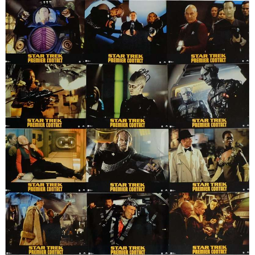 STAR TREK: FIRST CONTACT Lobby Cards x12 9x12 in. French - 1996 - Jonathan Frakes, Patrick Stewart