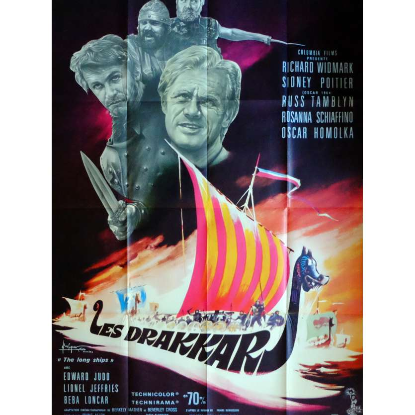 THE LONG SHIPS Movie Poster 32x47 in. French - 1964 - Jack Cardiff, Richard Widmark