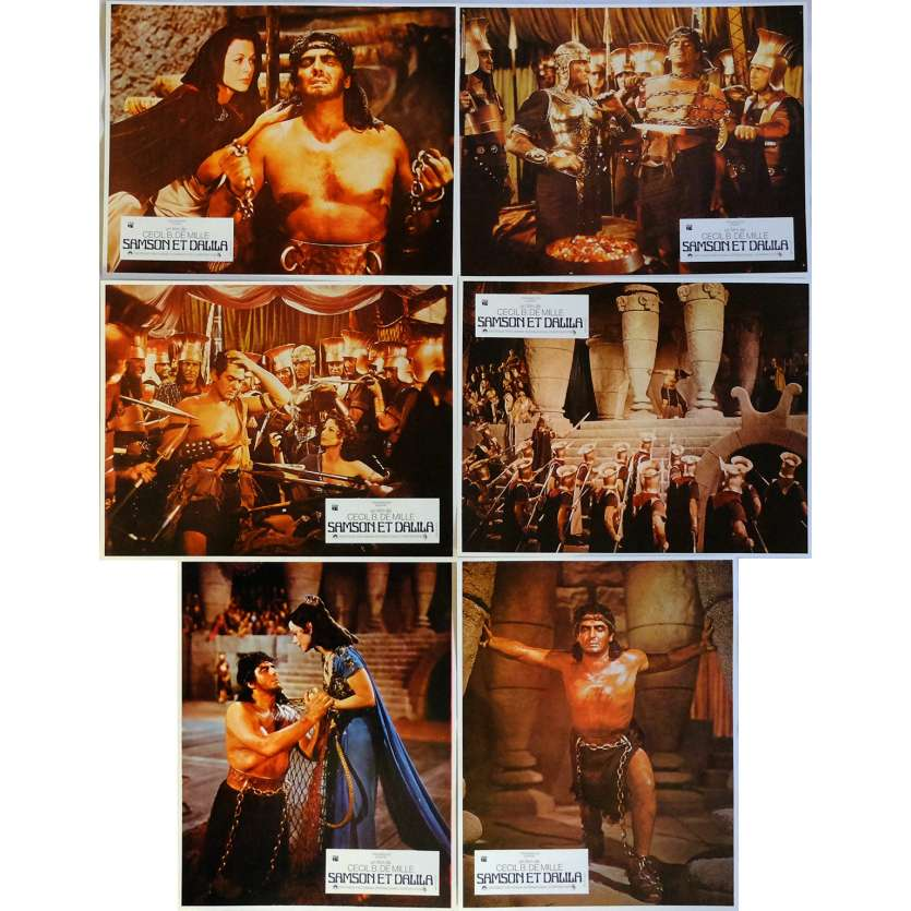 SAMSON AND DELILAH Lobby Cards x6 9x12 in. French - R1970 - Cecil B. DeMile, Victor Mature