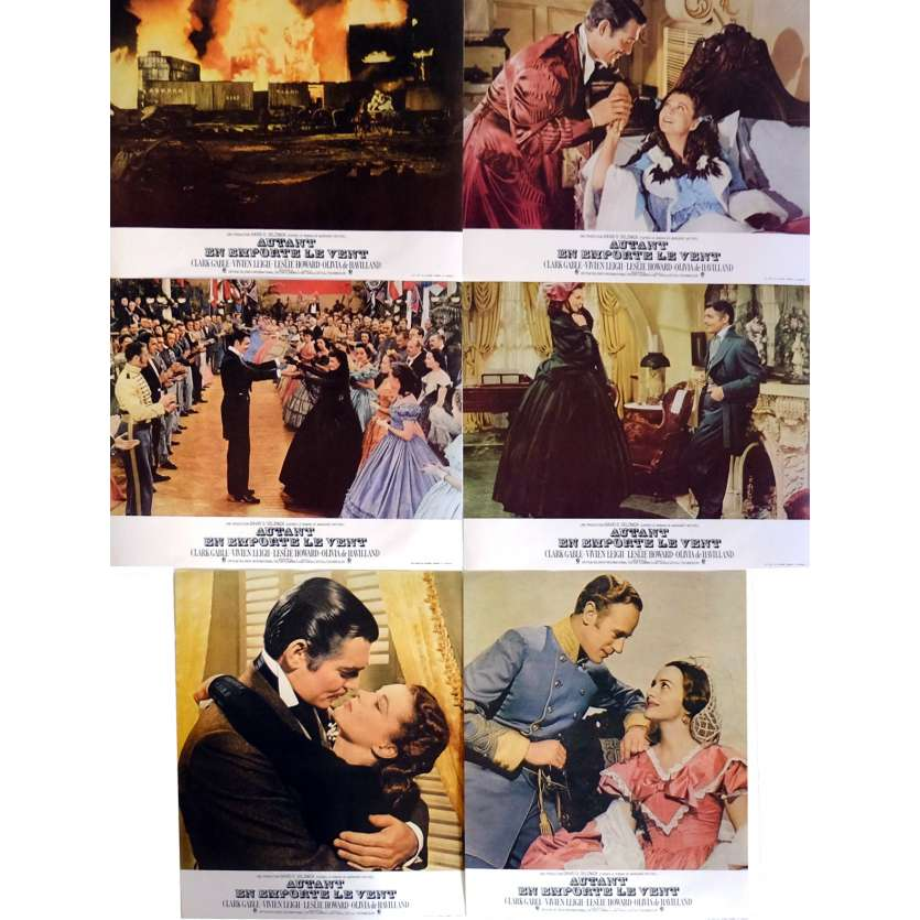 GONE WITH THE WIND Lobby Cards x6 9x12 in. French - R1970 - Victor Flemming, Clark Gable
