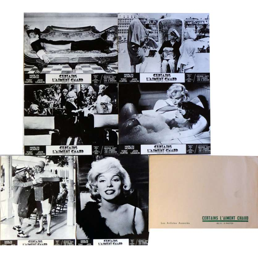 SOME LIKE IT HOT Lobby Cards x6, Jeu B 9x12 in. French - R1970 - Billy Wilder, Marilyn Monroe