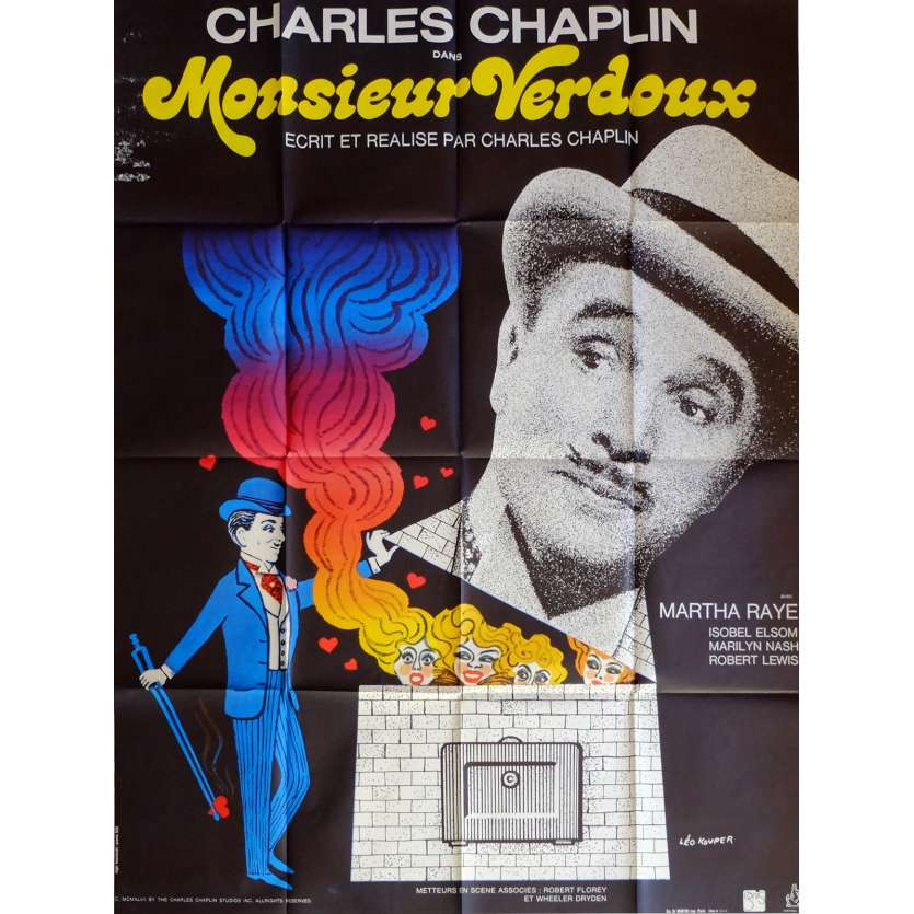 MONSIEUR VERDOUX Movie Poster 47x63 in. French - R1970 - Charlie Chaplin, Charlie Chaplin