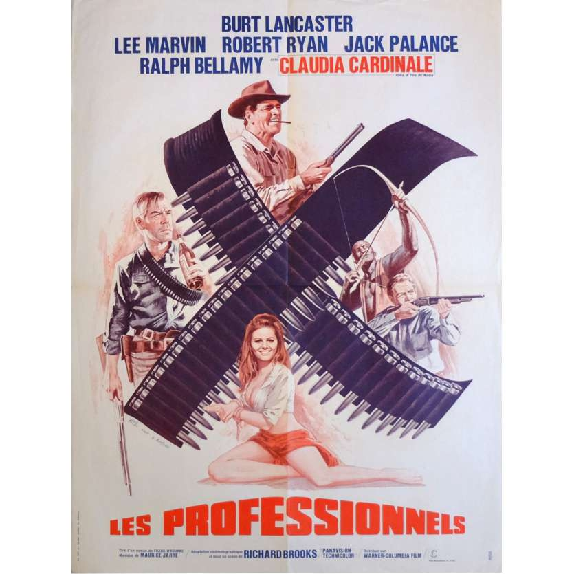 LES PROFESSIONNELS Affiche de film 60x80 cm - 1966 - Burt Lancaster, Richard Brooks