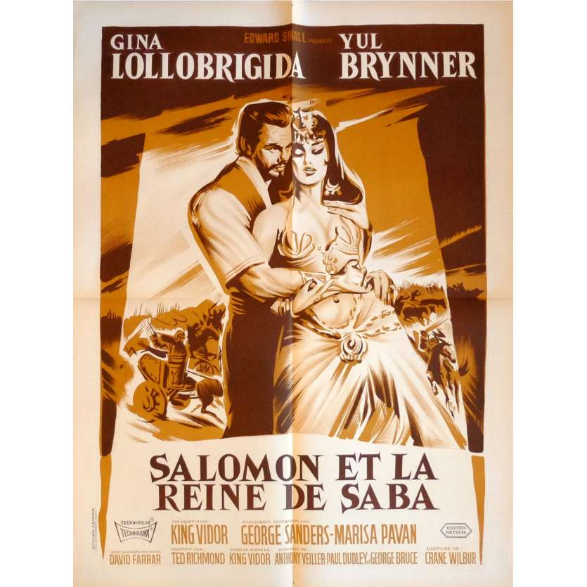 SOLOMON AND SHEBA Movie Poster 23x32 in. French - 1959 - King Vidor, Yul Brynner