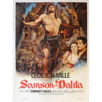 SAMSON AND DELILAH Movie Poster 15x21 in. French - R1970 - Cecil B. DeMile, Victor Mature