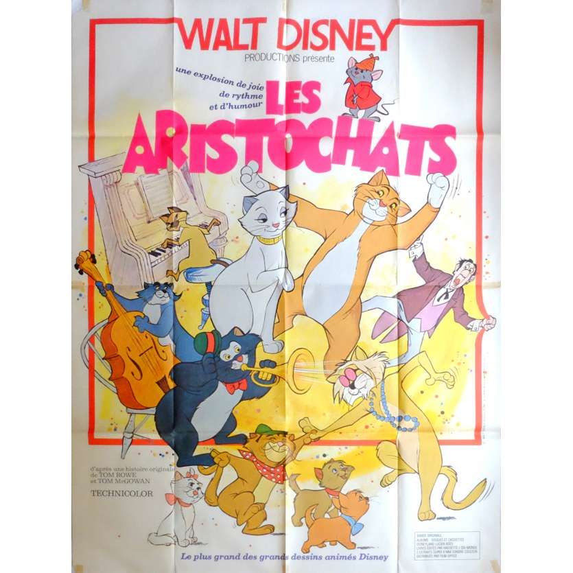 ARISTOCATS French Movie Poster 47x63 R70's Walt Disney