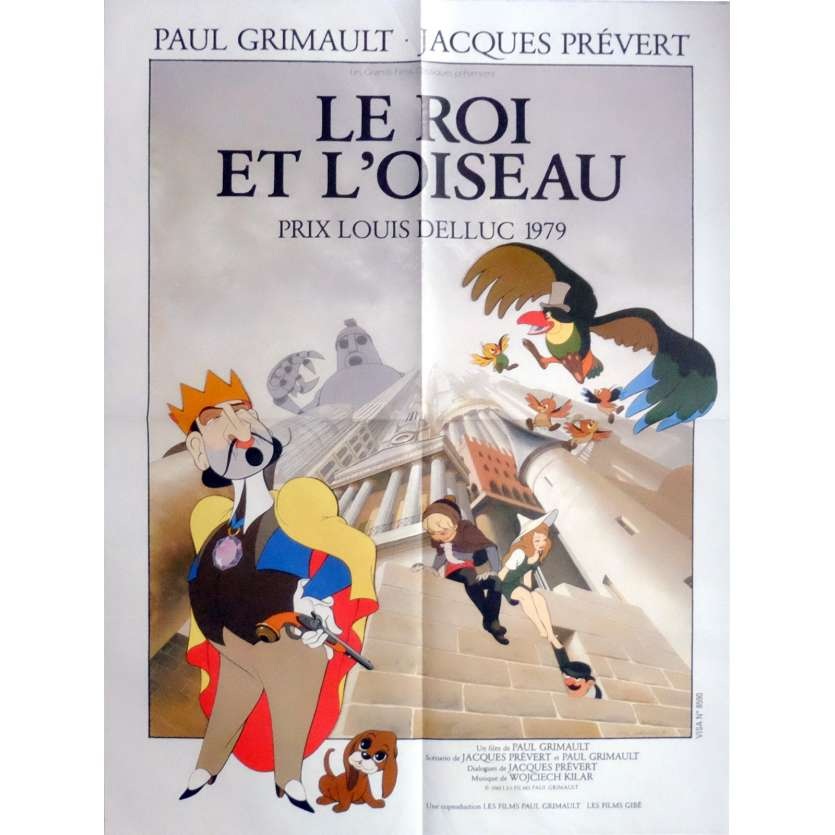 THE KING OF THE MOCKINGBIRD Movie Poster 23x32 in. French - 1980 - Paul Grimault, Jean Martin