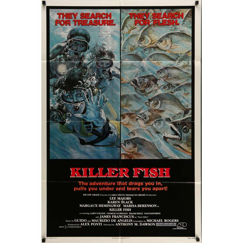 L'INVASION DES PIRANHAS Affiche de film 51x71 cm - 1979 - Lee Majors, Antonio Margheriti