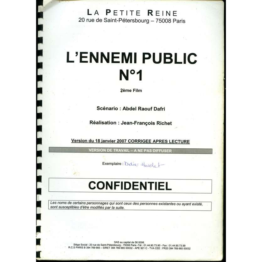 MESRINE - PUBLIC ENEMY 1 Movie Script B 9x12 in. French - 2008 - Jean-François Richet, Vincent Cassel