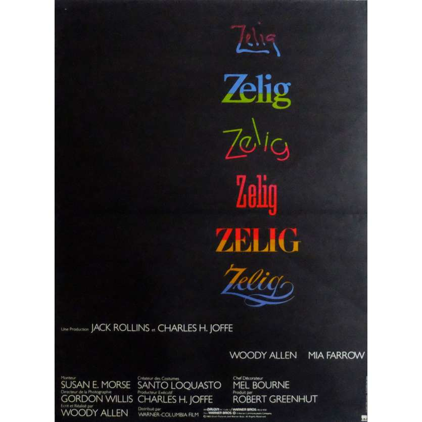 ZELIG Movie Poster 15x21 in. French - 1983 - Woody Allen, Mia Farrow