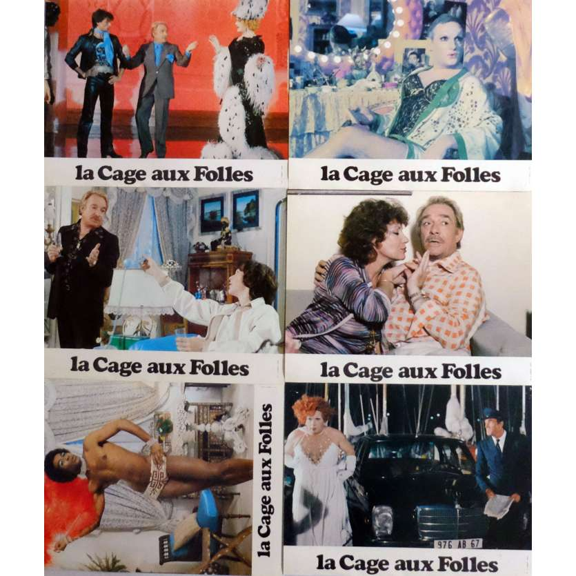 BIRDCAGE Lobby Cards x6 9x12 in. French - 1978 - Edouard Molinaro, Michel Serrault
