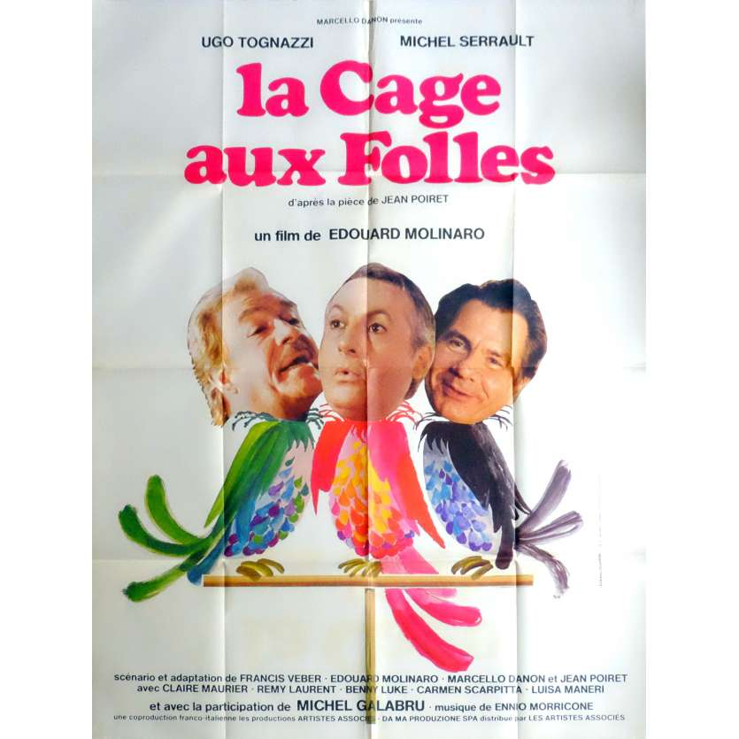 BIRDCAGE Movie Poster 47x63 in. French - 1978 - Edouard Molinaro, Michel Serrault