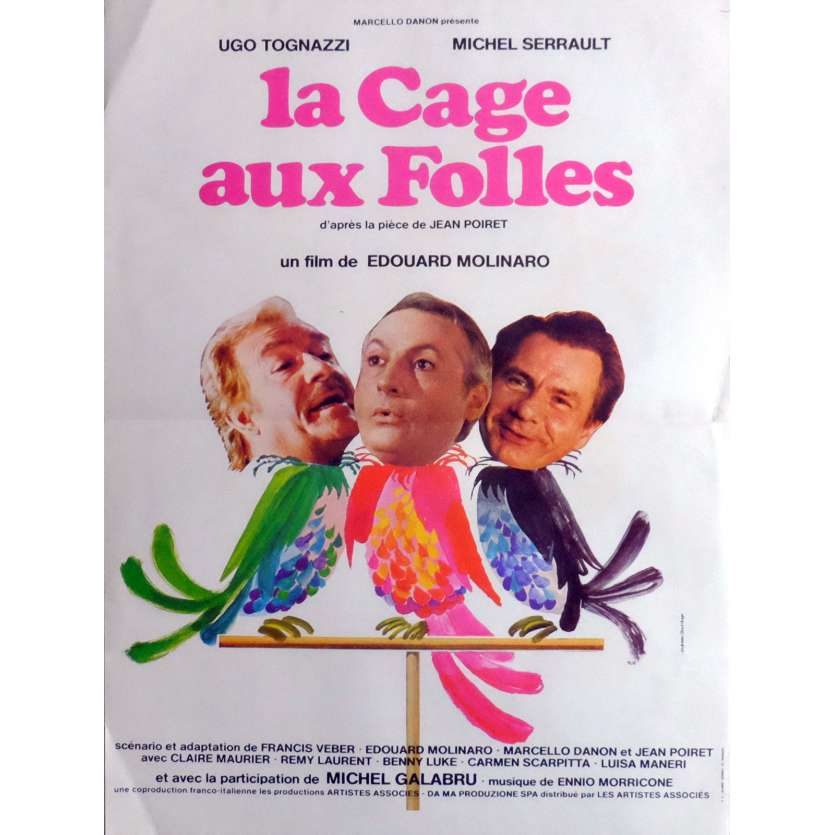 BIRDCAGE Movie Poster 15x21 in. French - 1978 - Edouard Molinaro, Michel Serrault