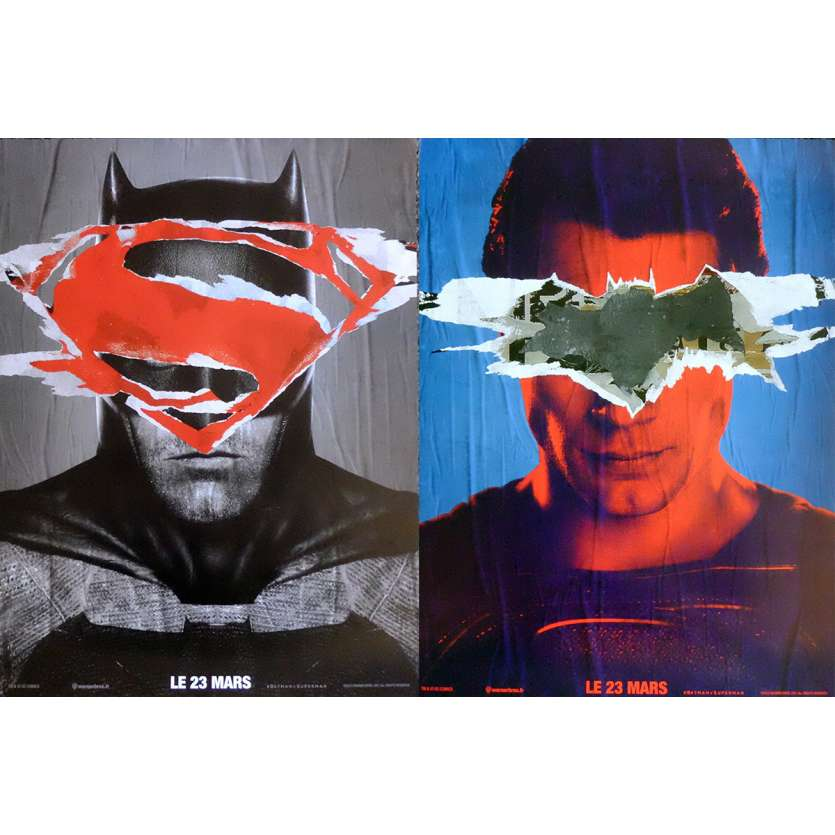 BATMAN VS SUPERMAN Adv. Movie Posters Lot 15x21 in. French - 2016 - Zack Snyder, Ben Affleck