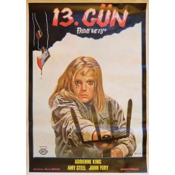 Friday THE 13TH Movie Poster 29x40 in. Turkish - 1980 - Sean S. Cunningham, Kevin Bacon