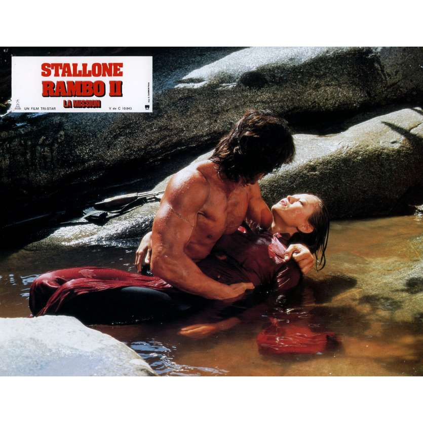RAMBO FIRST BLOOD PART II Lobby Card N12 9x12 in. French - 1985 - George P. Cosmatos, Sylvester Stallone