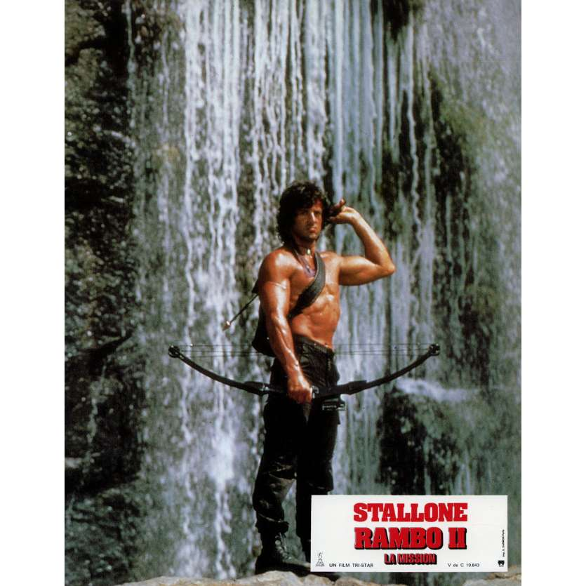 RAMBO FIRST BLOOD PART II Lobby Card N5 9x12 in. French - 1985 - George P. Cosmatos, Sylvester Stallone