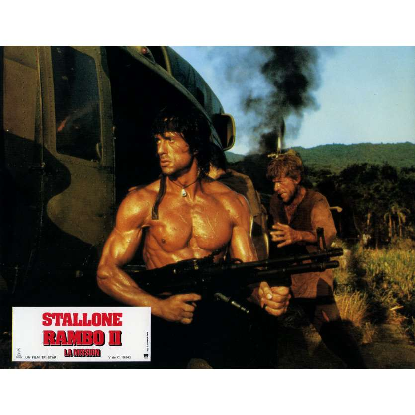 RAMBO FIRST BLOOD PART II Lobby Card N4 9x12 in. French - 1985 - George P. Cosmatos, Sylvester Stallone