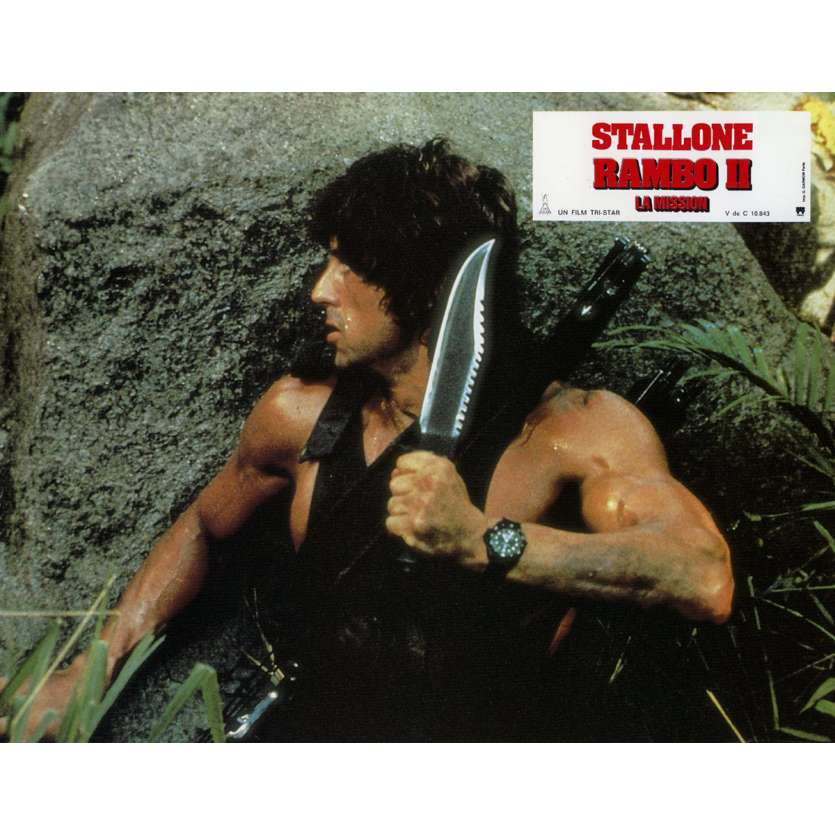 RAMBO FIRST BLOOD PART II Lobby Card N3 9x12 in. French - 1985 - George P. Cosmatos, Sylvester Stallone