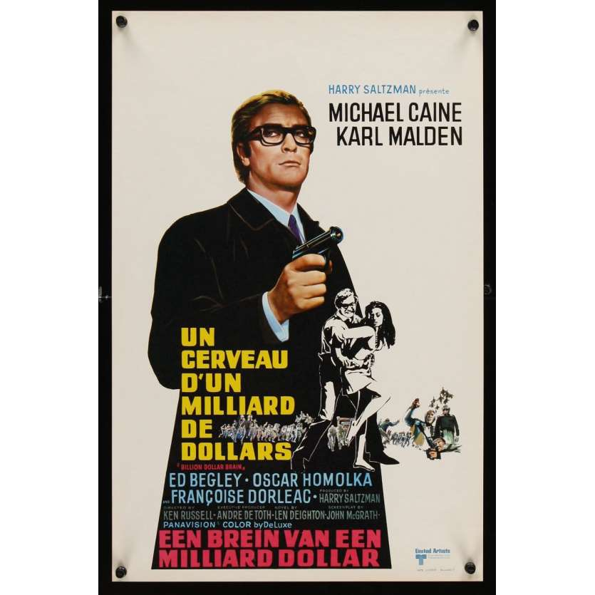 MICHAEL CAINE Un cerveau d'un milliard de dollars Affiche Belge 1967