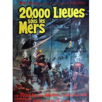 20,000 LEAGUES UNDER THE SEA Movie Poster 47x63 in. French - 1963 - Richard Fleisher, Kirk Douglas