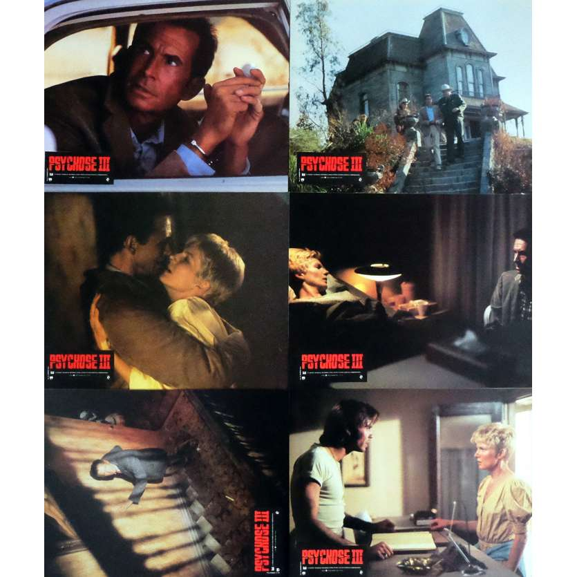 PSYCHO III Lobby Cards x6 9x12 in. French - 1986 - Anthony Perkins, Jeff Fahey