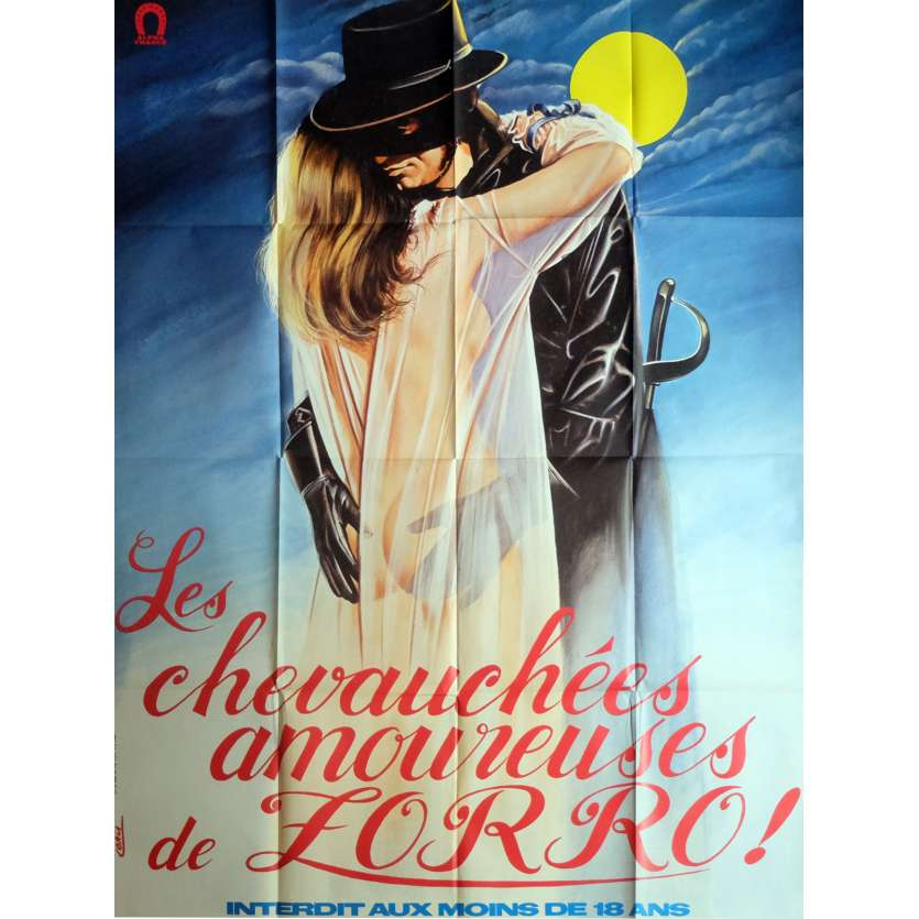 THE EROTIC ADVENTURES OF ZORRO Movie Poster 47x63 in. French - 1972 - Robert Freeman, Jacqueline Giroux