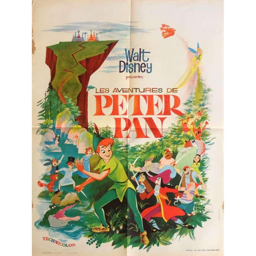 PETER PAN Affiche de film 60x80 cm - R1965 - Bobby Driscoll, Walt Disney